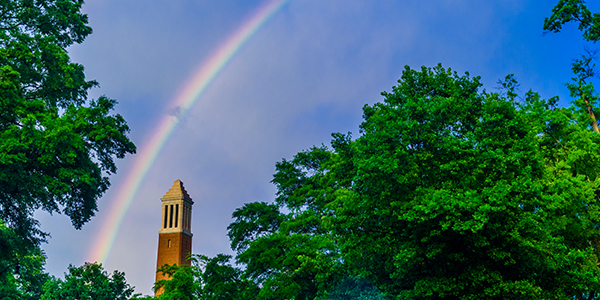 rainbow over Denny Chimes