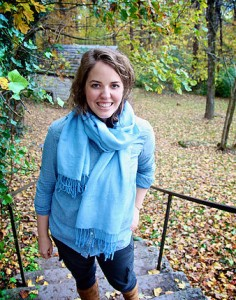 Susan Fant, scarf, outdoors, leaves, woman, smiling