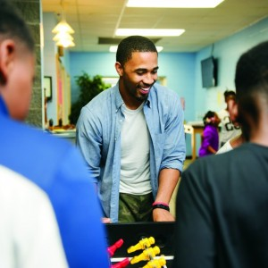 Tyler Merriweather spends time working with the Boys and Girls Club.